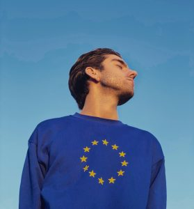Man wearing European Union sweater
