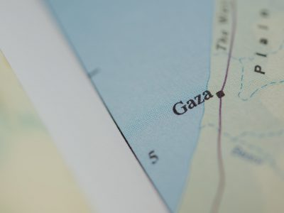 Closeup from a map with in the center Gaza