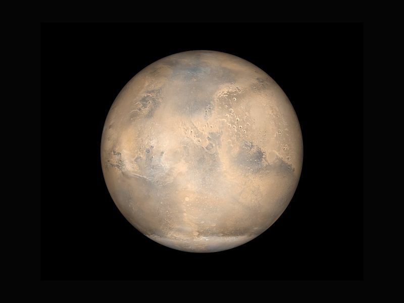 A simulated view of Mars as it would be seen from the Mars Global Surveyor spacecraft